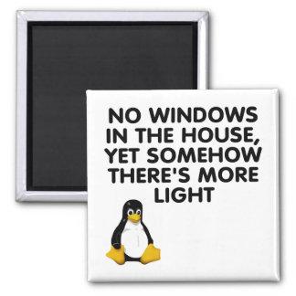 Ningunas ventanas en la casa… imán cuadrado