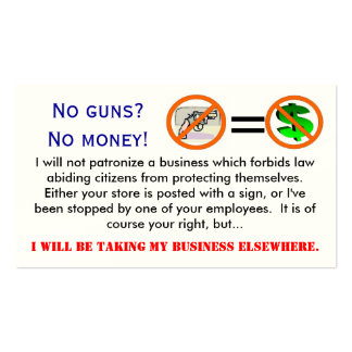 Ningunos armas = ninguna tarjeta de visita de dine