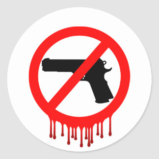Ningunos armas permitidos = muertos inocentes etiqueta redonda