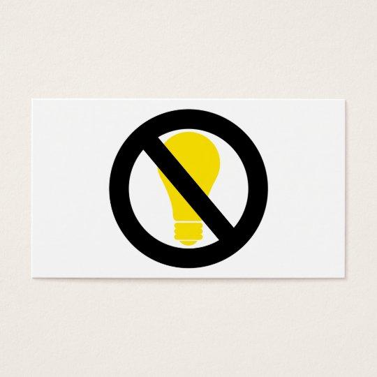 ningunos bulbos incandescentes tarjetas de visita