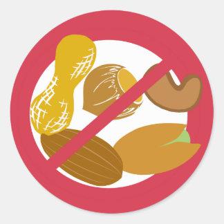 Ningunos cacahuetes o pegatinas Nuts de la alarma Pegatina Redonda
