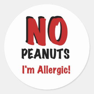 NINGUNOS cacahuetes soy alérgico Etiquetas Redondas