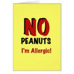 NINGUNOS cacahuetes soy alérgico Tarjeta