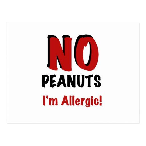 NINGUNOS cacahuetes soy alérgico Tarjetas Postales