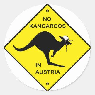 ¡Ningunos canguros en Austria! Pegatina Redonda
