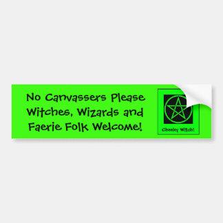 ¡Ningunos Canvassers satisfacen - las brujas y rec Etiqueta De Parachoque