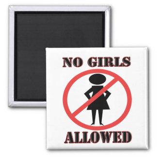 Ningunos chicas permitidos imán cuadrado