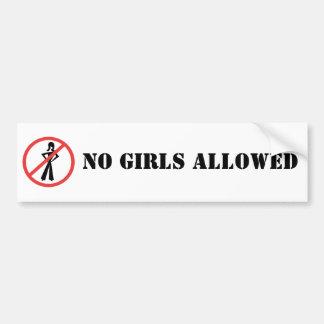Ningunos chicas permitieron BumperSticker Pegatina Para Auto
