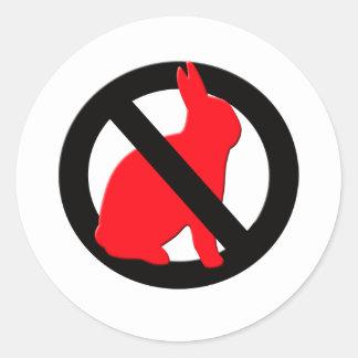 Ningunos conejos permitidos pegatina redonda