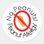 Ningunos diseños de la alergia del cacahuete de pegatina redonda