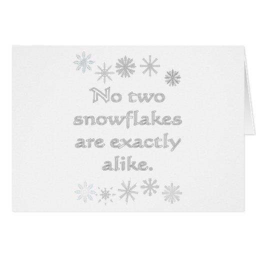 Ningunos dos copos de nieve felicitaciones
