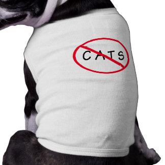 ¡Ningunos gatos! Muestra roja del círculo Playera Sin Mangas Para Perro