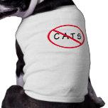 ¡Ningunos gatos! Muestra roja del círculo Prenda Mascota