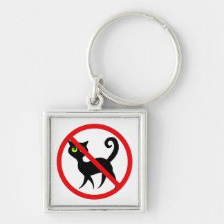 Ningunos gatos permitidos llavero cuadrado plateado
