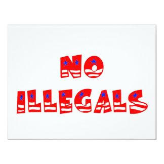 """Ningunos inmigrantes ilegales invitación 4.25"""" x 5.5"""""""