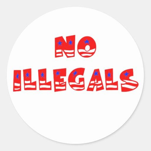 Ningunos inmigrantes ilegales pegatinas redondas