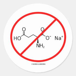 Ningunos MSG (ningún glutamato monosódico) Pegatina Redonda