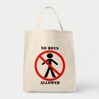 Ningunos muchachos permitidos bolsa tela para la compra