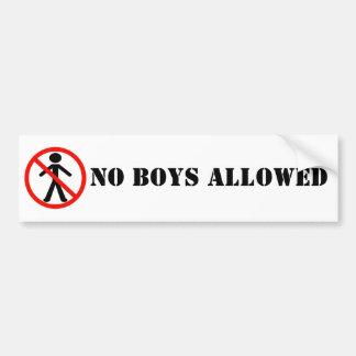Ningunos muchachos permitieron BumperSticker Pegatina De Parachoque