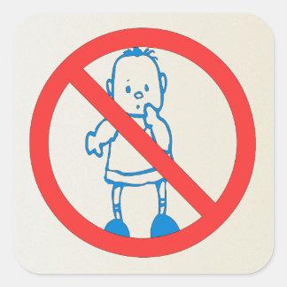 Ningunos niños permitidos calcomania cuadradas personalizada
