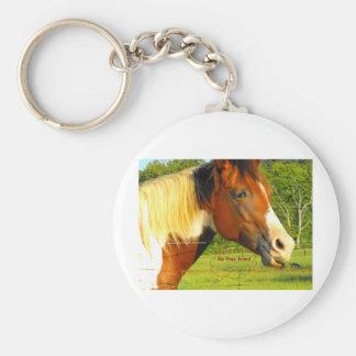 Ningunos pases gratises en caballo de la vida llavero redondo tipo pin