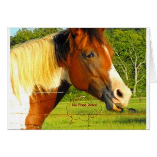 Ningunos pases gratises en caballo de la vida tarjeta de felicitación