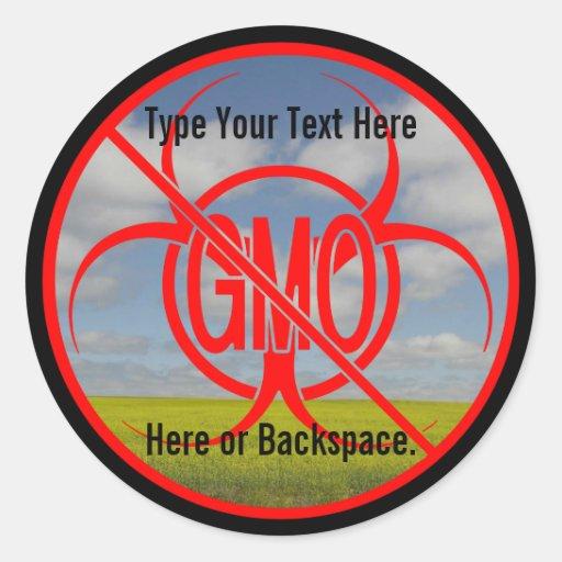 Ningunos pegatinas amonestadores de encargo de GMO Etiquetas Redondas