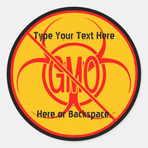 Ningunos pegatinas amonestadores de encargo de GMO Pegatinas Redondas