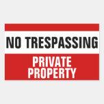 Ningunos pegatinas de violación de la propiedad pegatina rectangular