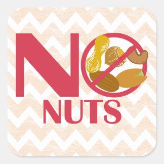 Ningunos pegatinas Nuts de la alarma de la alergia Pegatina Cuadrada