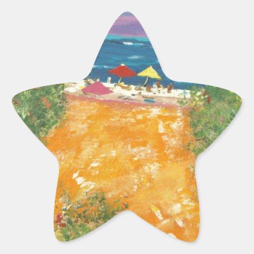 Ningunos perros en la playa pegatina en forma de estrella