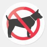 Ningunos perros permitidos etiquetas redondas