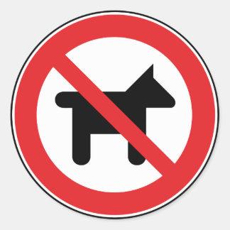 Ningunos perros permitidos pegatina redonda