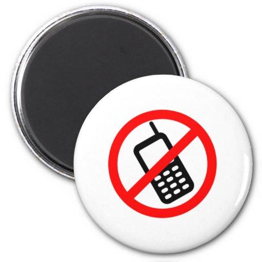 Ningunos teléfonos celulares imán de frigorífico
