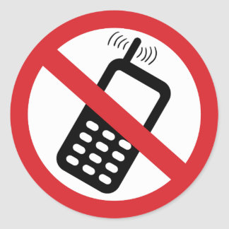 Ningunos teléfonos celulares pegatina redonda