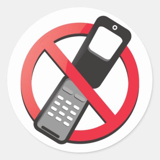 Ningunos teléfonos celulares permitidos pegatina redonda