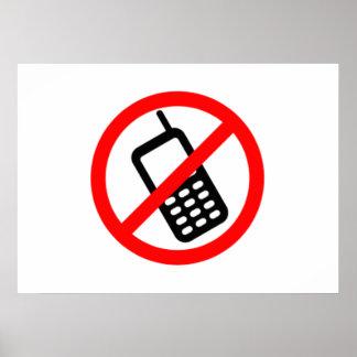Ningunos teléfonos celulares póster