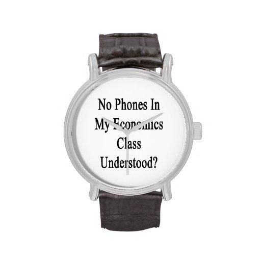 Ningunos teléfonos en mi clase de la economía ente reloj