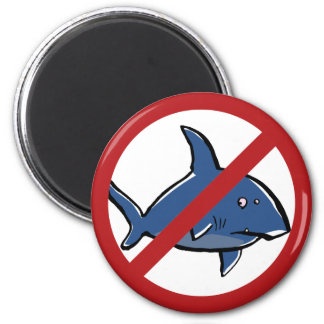 ¡Ningunos tiburones aquí! Imán Redondo 5 Cm