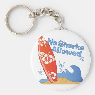 Ningunos tiburones permitidos llavero redondo tipo pin