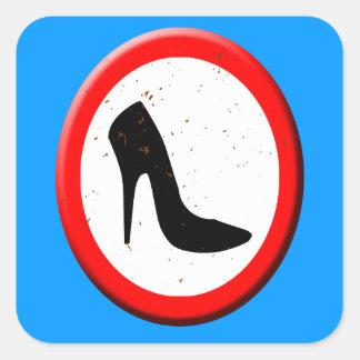 Ningunos zapatos de tacón alto permitidos pegatina cuadrada