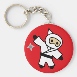 ninja 5 basic round button keychain