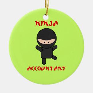 Ninja Accountant Double-Sided Ceramic Round Christmas Ornament