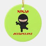 Ninja Accountant with Dollar Sign Christmas Ornaments