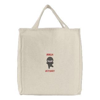 Ninja Actuary Embroidered Tote Bag