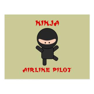 ninja airline pilot postcard