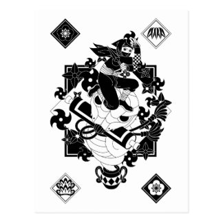 Ninja and snake and the hand reverse side sword Ja Postcards