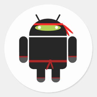 Ninja androide etiquetas redondas