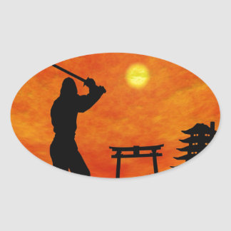 Ninja Attack Oval Stickers