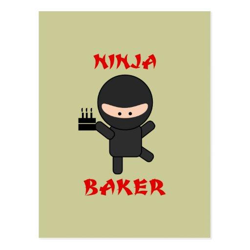 ninja baker with cake post cards